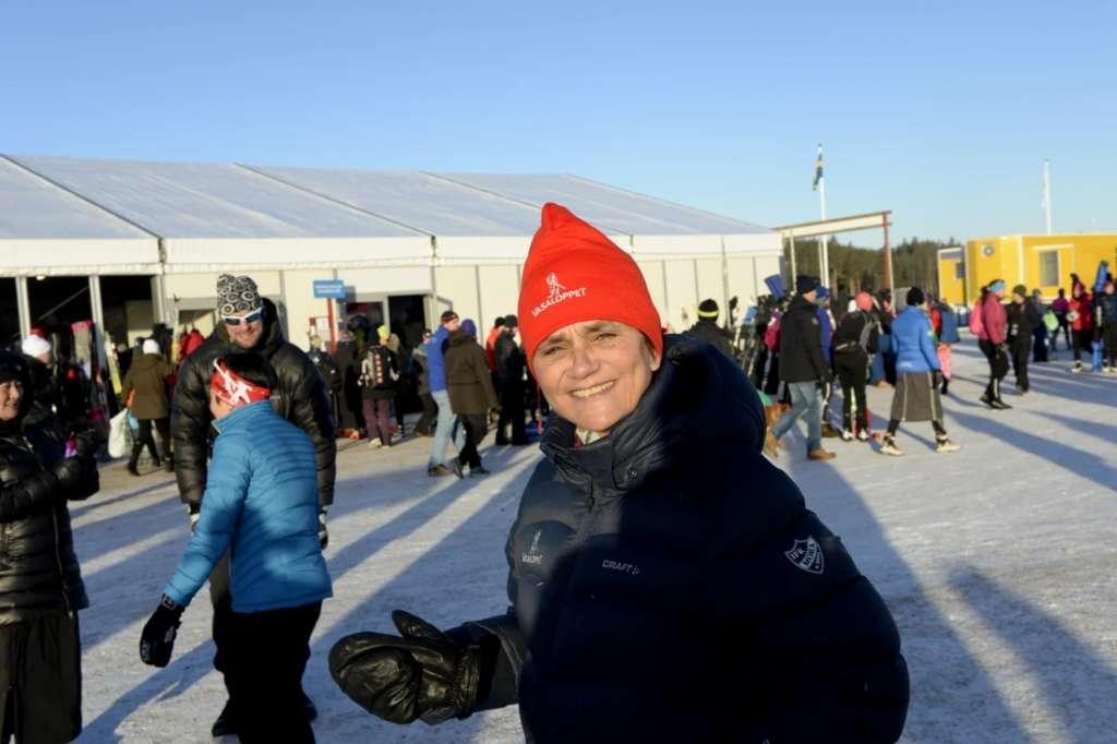 Eva-Lena Frick uppvärmning mässtält Vasaloppet